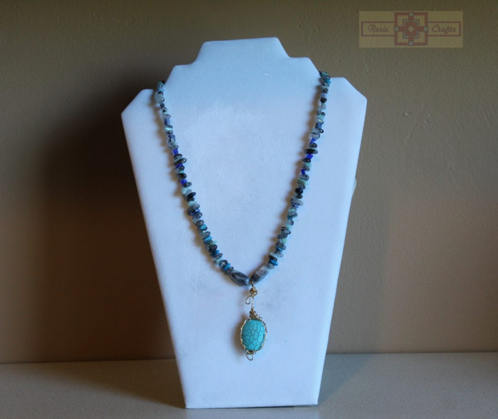 Artisan Tribes Wire Wrapped Teal Pendant Necklace