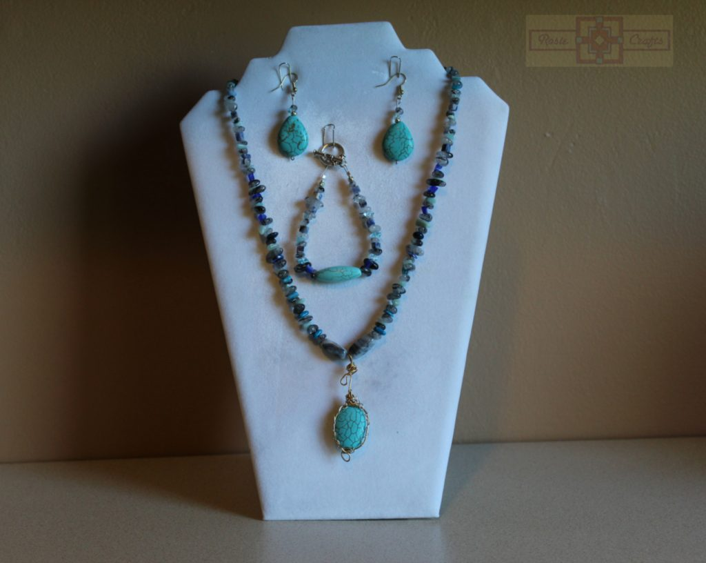 Artisan Tribes Wire Wrapped Teal Pendant Jewelry Set